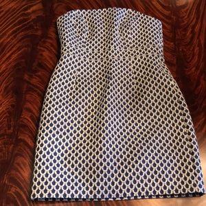 Blue & Silver Scale Print Strapless Short Dress
